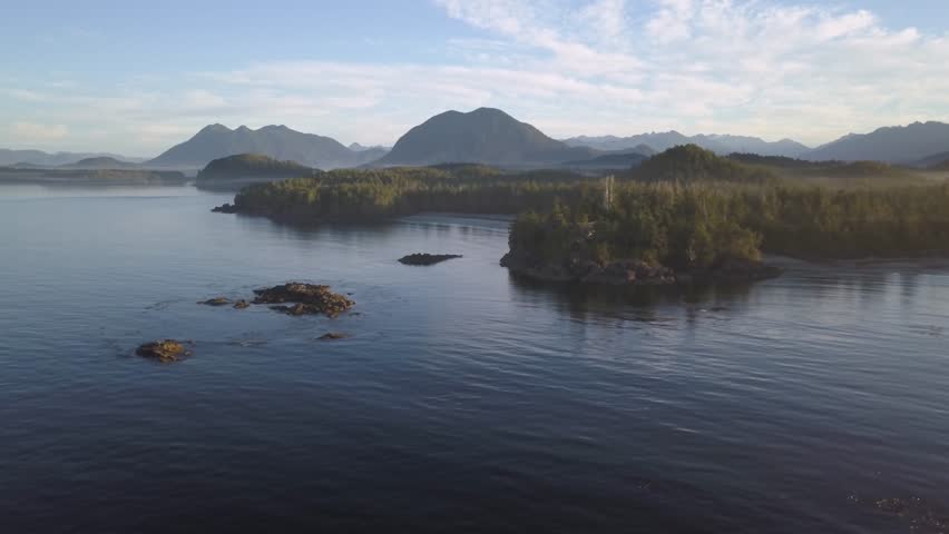 Aerial view of the beautiful natural seascape on Pacific Ocean Coast during a sunny summer sunrise. Video taken in Tofino, Vancouver Island, British Columbia, Canada.