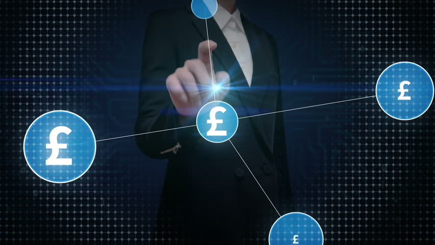 Businesswoman touching Pound currency symbol, Numerous dots gather to create a Pound currency sign, dots makes global world map, internet of things. financial technology 1. | Shutterstock HD Video #30736588