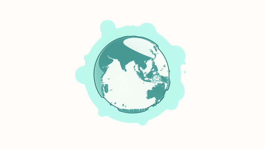 Line Art Earth : Animation rotation of globe earth in flat icon style on colorful