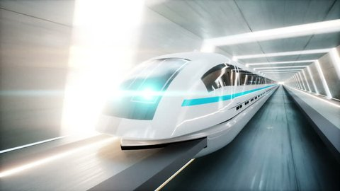 futuristic modern train, monorail fast driving in sci fi tunnel, coridor. Concept of future. Realistic 4k animation. Loopable.