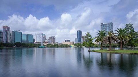 ORLANDO - USA, July 2017: Downtown view with the Lake Eola