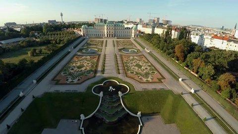 Aerial view. Vein. Vienna. Wien. Belvedere. The palace complex. Austria. Shot in 4K (ultra-high definition (UHD)).