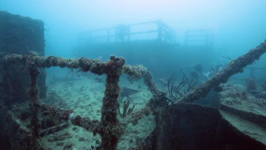 Scuba divers exploring the USS Spiegel Grove wreck, in the Florida Keys.