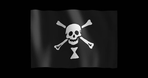 Pirate Flag of Emanuel Wynne; gentle, stylized, non-realistic, unhinged waving; nice textile pattern visible in hi-res
