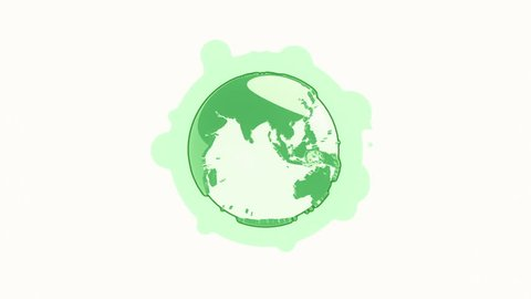 Animation rotation of globe earth in flat icon style on colorful background with circle with flying particles. Line art style. Animation of seamless loop.