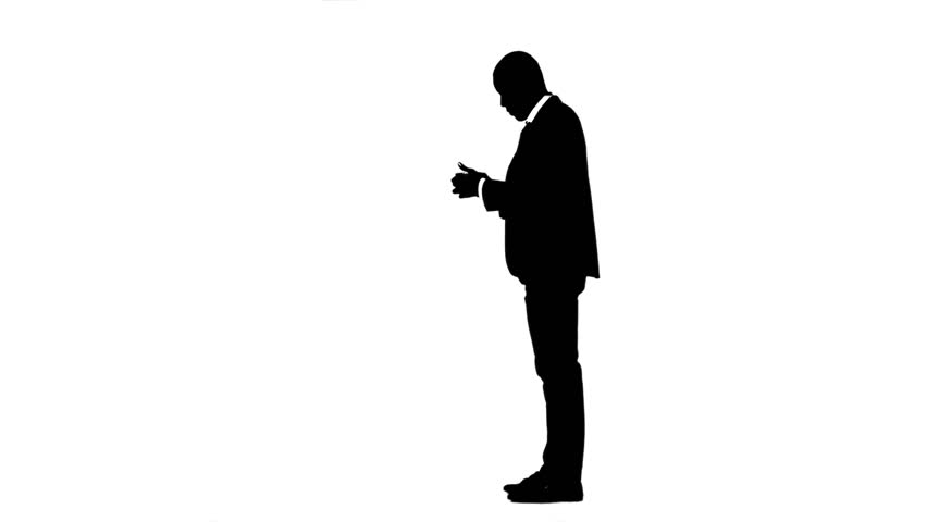 Man rejoices in the victory and speaks on the phone. White background. Silhouette   Shutterstock HD Video #30792778