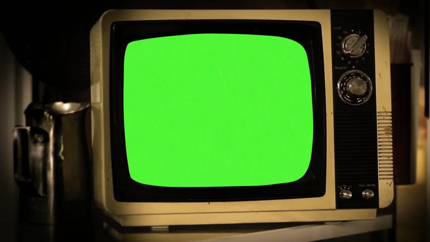 """Old Tv Green Screen.  Ready to replace green screen with any footage or picture you want. You can do it with """"Keying"""" (Chroma Key) effect in Adobe After Effects or other video editing software."""