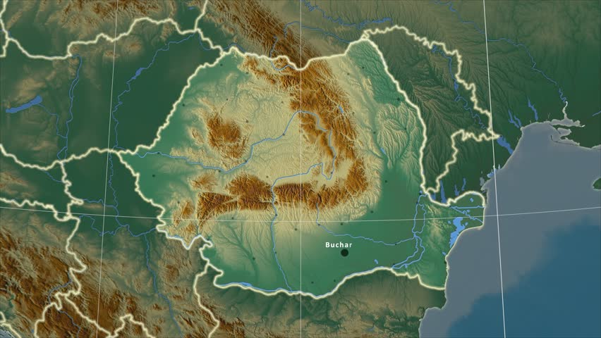 The Romania area map in the Azimuthal Equidistant projection. Layers of main cities, capital, administrative borders and graticule. Relief map