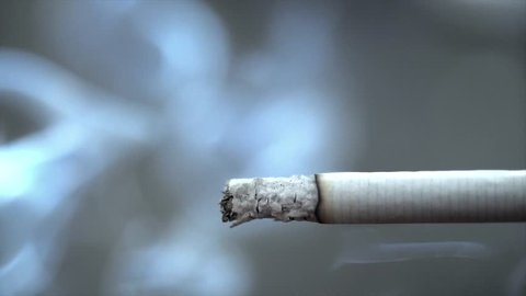 Cigarette burning with smoke flowing up into the darkness in slow motion. 3840x2160
