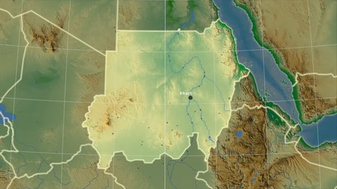 The Sudan area map in the Azimuthal Equidistant projection. Layers of main cities, capital, administrative borders and graticule. Colored physical map