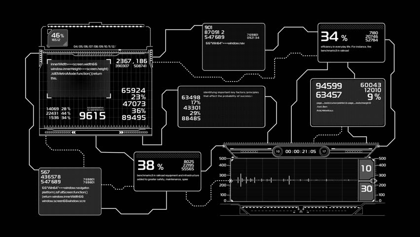 Beautiful Flowcharts Drawing Animation. Futuristic HUD with Numbers and Code Running. Head-up Display Computer Data. High Tech Concept Element. Full HD 1920x1080.