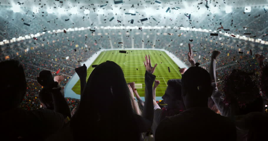 Fans cheering for sports team on the bleachers of a professional stadium #30867058