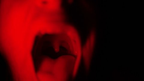 Screaming Red Mouth in Dark, Weird Scary Screaming Face