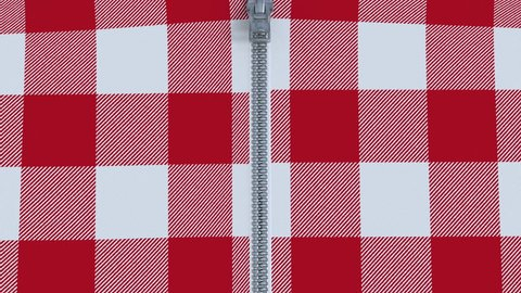 Zip fastener on red and white checkered flannel shirt. Animation of unzipping a shirt with black and white mask included.