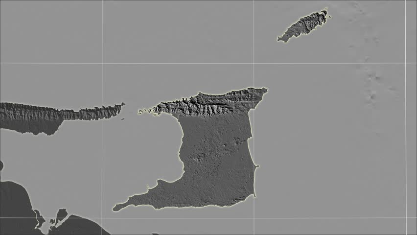 The Trinidad And Tobago area map in the Azimuthal Equidistant projection. Layers of main cities, capital, administrative borders and graticule. Elevation & bathymetry - grayscale contrasted