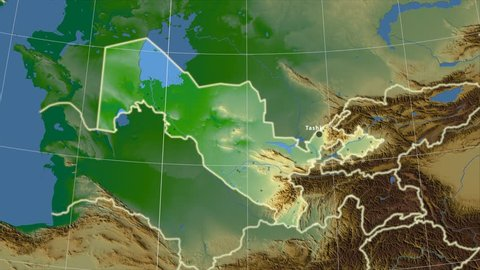 The Uzbekistan area map in the Azimuthal Equidistant projection. Layers of main cities, capital, administrative borders and graticule. Colored physical map