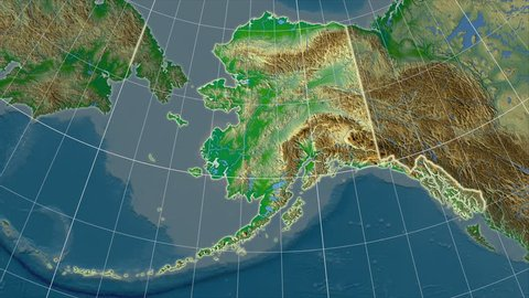 Alaska Physical Map Stock Video Footage - 4K and HD Video Clips ...