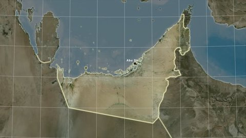 The United Arab Emirates area map in the Azimuthal Equidistant projection. Layers of main cities, capital, administrative borders and graticule. Satellite imagery