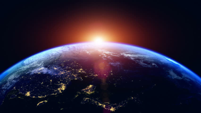 Sunrise Over The Earth. Globe with City Night Lights. View Of Planet Earth From Space. Northern Hemisphere Close Up. Realistic 3d Animation with Ultra High Detailed and Natural Textures.