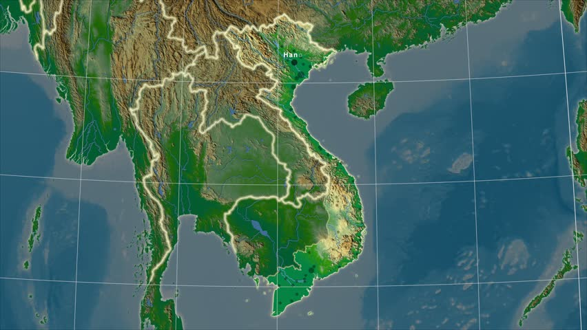 The Vietnam area map in the Azimuthal Equidistant projection. Layers of main cities, capital, administrative borders and graticule. Colored physical map