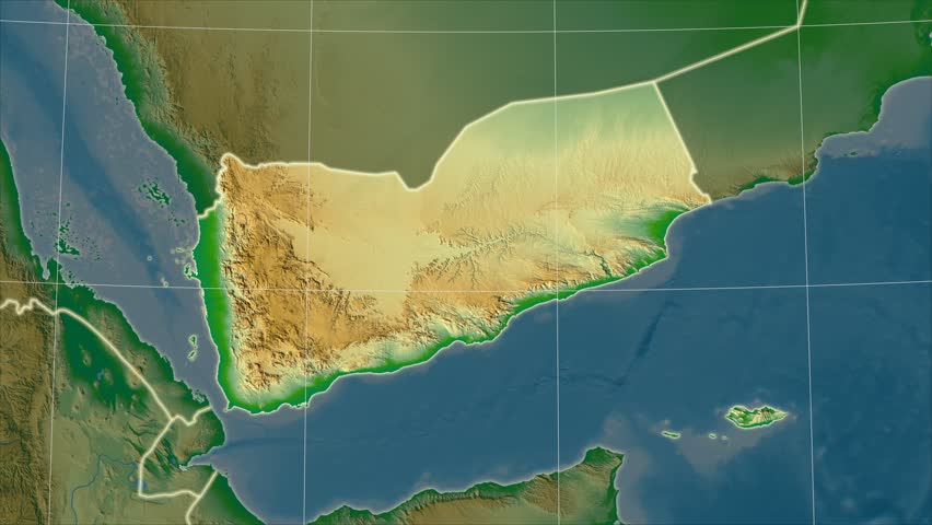 The Yemen area map in the Azimuthal Equidistant projection. Layers of main cities, capital, administrative borders and graticule. Colored physical map