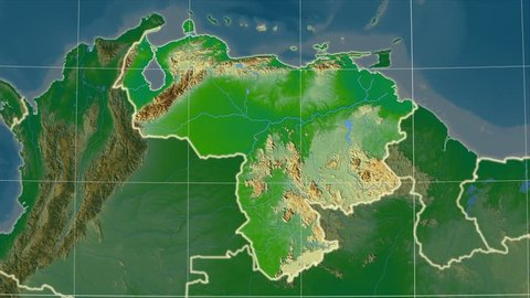 The Venezuela area map in the Azimuthal Equidistant projection. Layers of main cities, capital, administrative borders and graticule. Colored physical map
