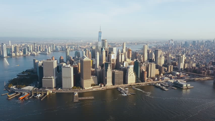 Aerial view of Manhattan district on the shore of the East river. Beautiful cityscape of New York, America. | Shutterstock HD Video #30989935
