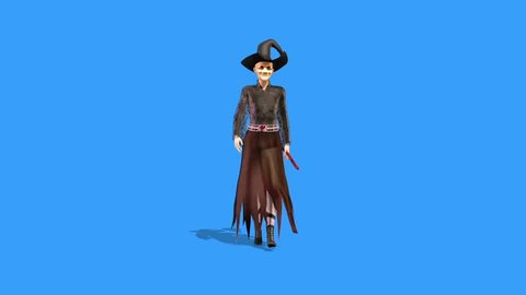 Witch Walkcycle Halloween Front Blue Screen 3D Rendering Animation Horror