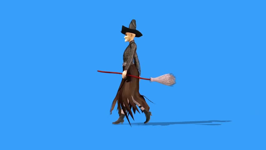 Witch Walkcycle Halloween Side Blue Screen 3D Rendering Animation Horror