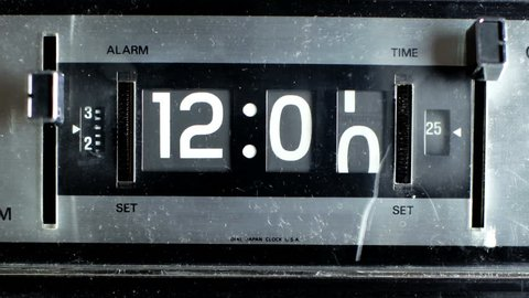 stop motion of an old style flip clock during 12 hours