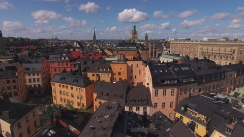 Aerial view of Stockholm Gamla stan. Drone shot flying over city buildings in the Old Town of Stockholm, Sweden