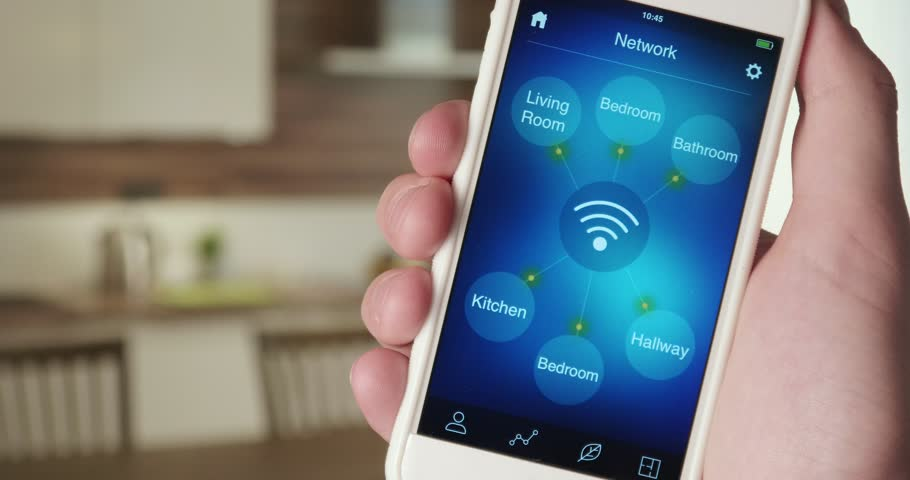 Monitoring wireless network in the house using smartphone app | Shutterstock HD Video #31029238