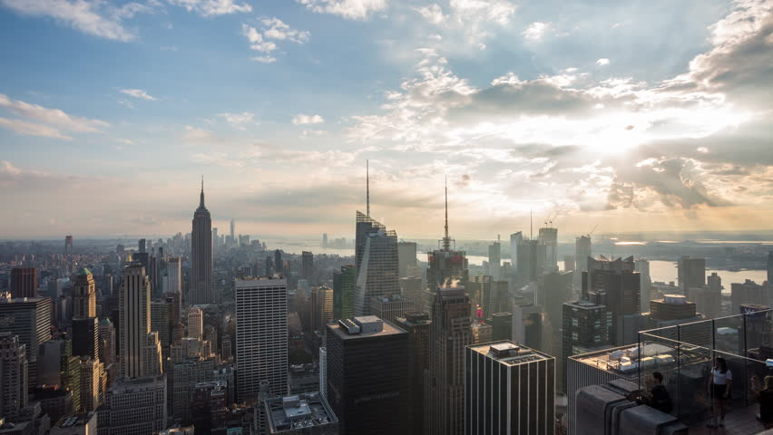 New York City, USA - September 15th 2017 - Manhattan, New York City and Clouds Aerial Day Timelapse | Shutterstock HD Video #31036135