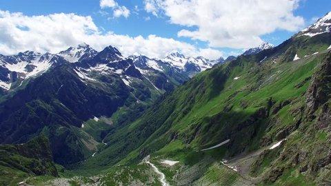 Flying near mountain range valley Aerial 4k video. Hiking Travel Tourism Caucasus Svaneti, Georgia.