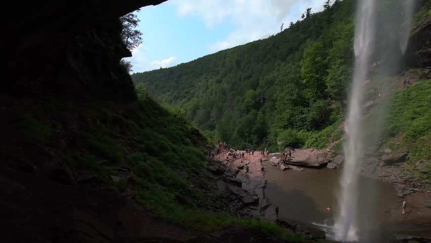 Kaaterskill Falls look from inside, New York | Shutterstock HD Video #31041382