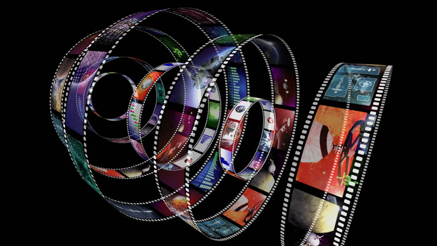 Animation of rotating film reels with a variety of clips
