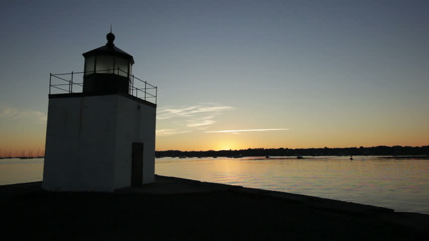 Derby lighthouse in Salem, Massachusetts left angle sunrise