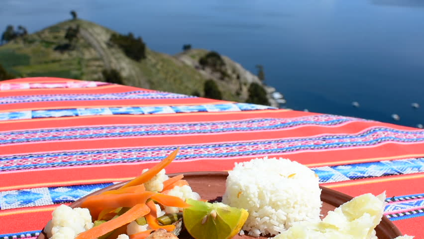 A trout dish with rice and vegetable on the Titicaca lake