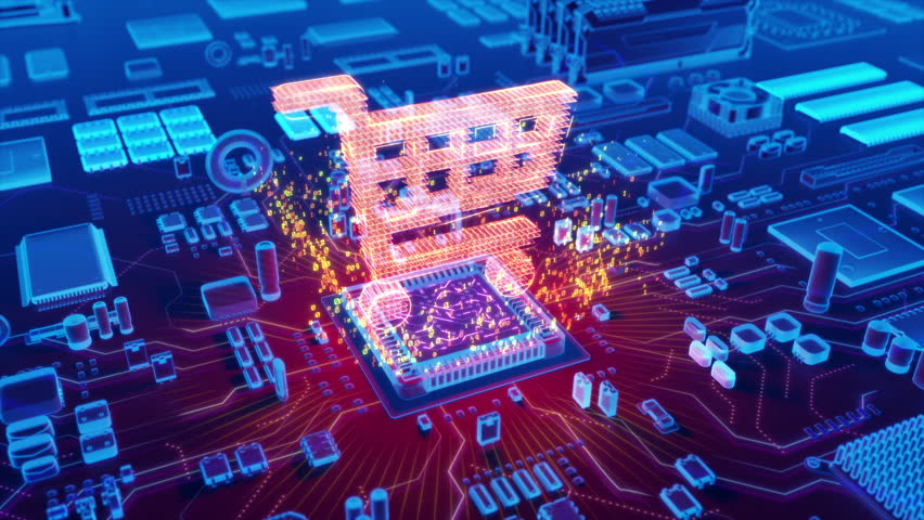 Futuristic animation of holographic shopping cart symbol emerging from microprocessor on electronic circuit board