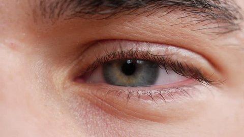 c0c7783bb58 Visually similar stock footage. Close-up of young man blue green eye  looking at camera