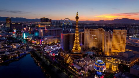 Las Vegas, Nevada, USA - June 6th 2017 - Beautiful Las Vegas Skyline Sunrise Timelapse