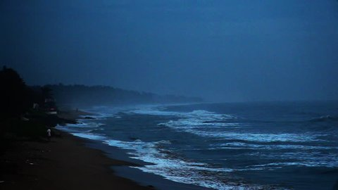Locked-on shot of waves moving on the beach, Mahabalipuram, Kanchipuram District, Tamil Nadu, India