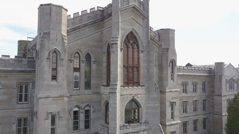 Aerial of abandoned Mental hospital insane asylum in New York State