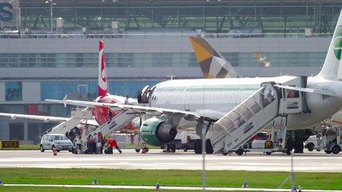 DUSSELDORF, GERMANY - JULY 23, 2017: Passengers boarding Germania Airlines Airbus 321. Dusseldorf Airport Germany