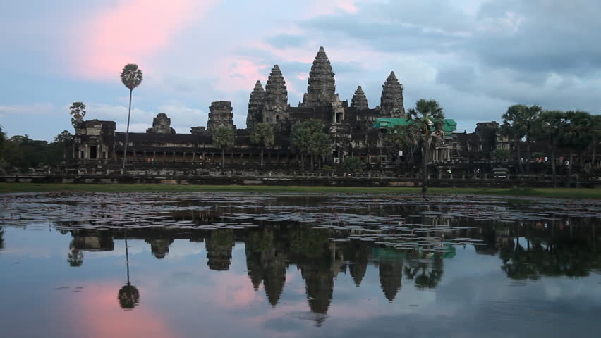 Angkor Wat temple in Cambodia at dusk on 20 November 2012