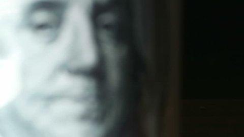 Benjamin Franklin on a 100 dollar bill.  Macro view. Full HD video