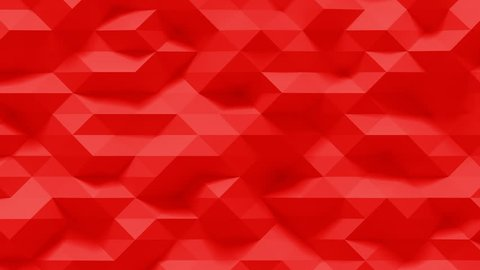 Abstract Polygonal Geometric Surface Loop 4F: red clean soft low poly motion background of shifting small triangles in hot blood crimson maroon dark orange ruby red. Seamless loop 4K UHD FullHD.