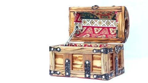 Armenian jewelleri box handmade with armenian oranments, armenian taraz. Armenia national figures, Wooden chest for decorations, an old Armenian chest. Handmade wooden jewellery box.Isolated. FHD.