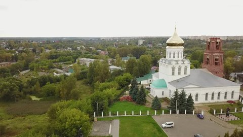 4K high quality aerial video footage of historical Christ The Saviour cathedral in center of historical town Alexandrov in Vladimir oblast on Golden Ring route, eastern Russia, 180 km from Moscow