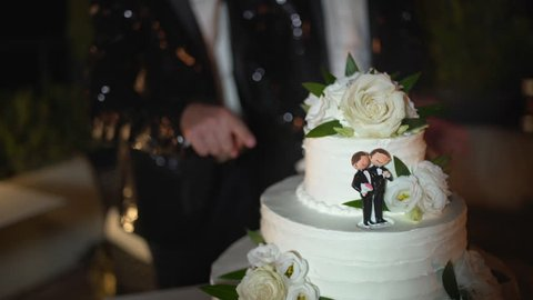 Wedding cake of a gay couple during the wedding party while photographers shooting. Homo wedding party.
